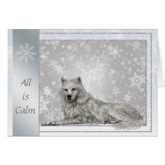 Elegante silberne Wolf-Weihnachtskarte Karte