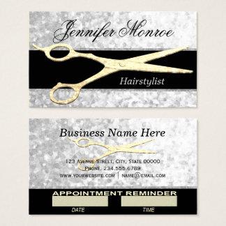 Elegante Silberund Goldhairstylist-Verabredung Visitenkarte