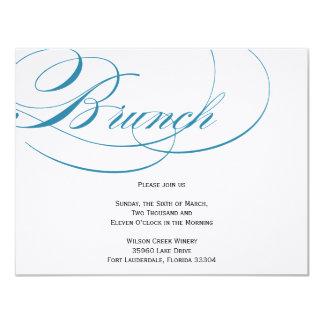Elegante Skript-Brunch-Einladung - Blau 10,8 X 14 Cm Einladungskarte