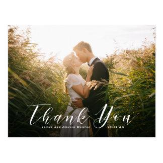 Elegante Skript-Hochzeit danken Ihnen Postkarte
