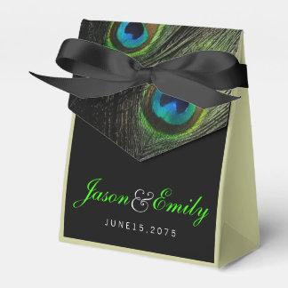 Elegante Smaragdgrün-Pfau-Hochzeit Geschenkschachtel
