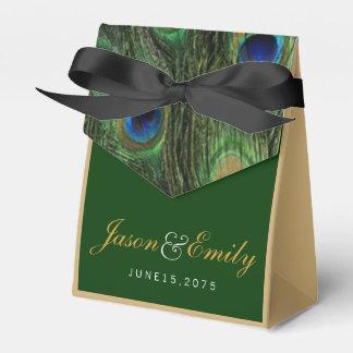 Elegante Smaragdgrün-und Goldpfau-Hochzeit Geschenkkartons