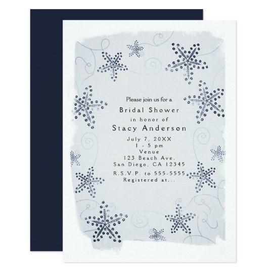 Elegante Starfish-u. Paillette-blaue 12,7 X 17,8 Cm Einladungskarte