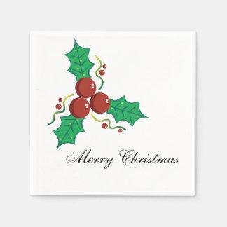 Elegante Stechpalmen-Beeren-frohe Weihnachten Servietten