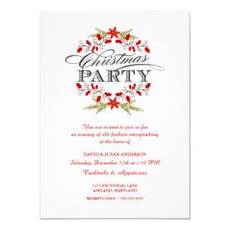 Elegante Stechpalmewreath-WeihnachtsParty 11,4 X 15,9 Cm Einladungskarte