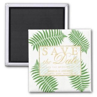 Elegante stilvolle Adlerfarn-Hochzeit Quadratischer Magnet