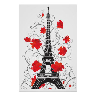 Elegante stilvolle Silhouette Turms Paris Eiffel Poster
