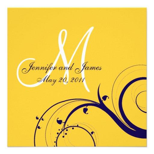 Elegante Strudel-Gelb-Marine-Hochzeits-Einladungen