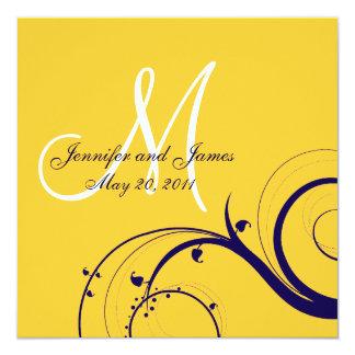 Elegante Strudel-Gelb-Marine-Hochzeits-Einladungen Quadratische 13,3 Cm Einladungskarte