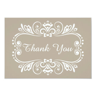 Elegante Taupe-Hochzeit danken Ihnen 8,9 X 12,7 Cm Einladungskarte
