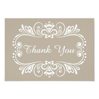 Elegante Taupe-Hochzeit danken Ihnen Karte