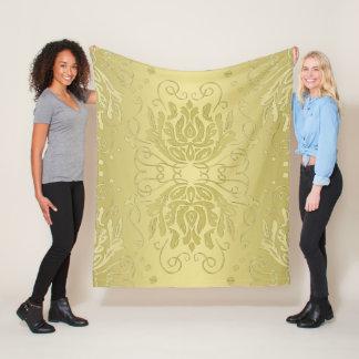 Elegante überlagerte Goldblumendamast-Fleece-Decke Fleecedecke