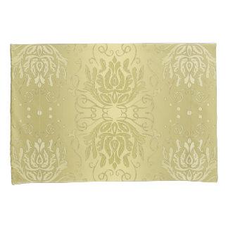 Elegante überlagerte Goldblumendamast-Kissenbezüge Kissen Bezug