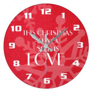 Elegante und inspirierend Weihnachtsmitteilung Große Wanduhr