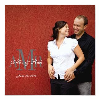Elegante Verlobungs-Foto-Hochzeits-Einladung Quadratische 13,3 Cm Einladungskarte