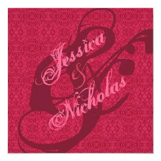 Elegante viktorianische rosa quadratische 13,3 cm einladungskarte