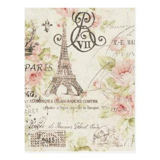 Elegante Vintage girly Blumenparis-Mode Postkarten