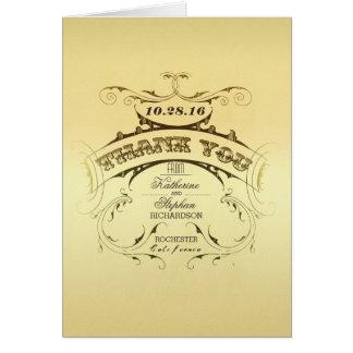 Elegante Vintage Hochzeit danken Ihnen Karten -