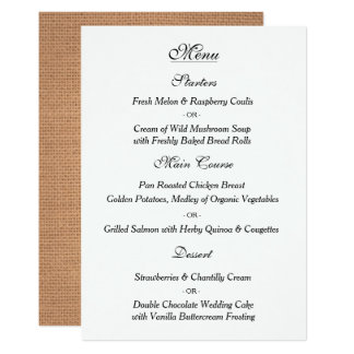 Elegante Vintage Hochzeits-Menü-Karte 12,7 X 17,8 Cm Einladungskarte