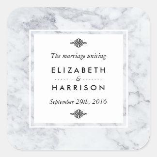 Elegante Vintage MarmorGastgeschenk Hochzeit Quadratischer Aufkleber