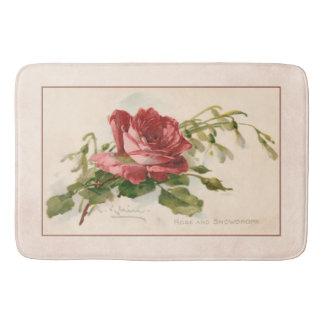 Elegante Vintage Rote Rose Badematte