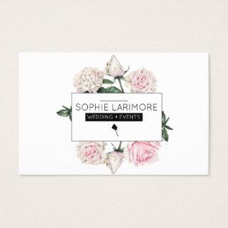 ★ elegante Wasserfarbe-Rosen Visitenkarte