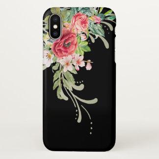 Elegante Watercolor-Blumen und Wirbel iPhone X Hülle