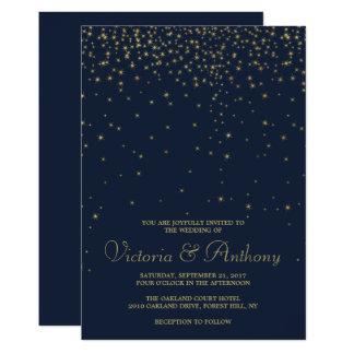 Elegante Wedding Marine-u. Goldfallende Sterne 12,7 X 17,8 Cm Einladungskarte