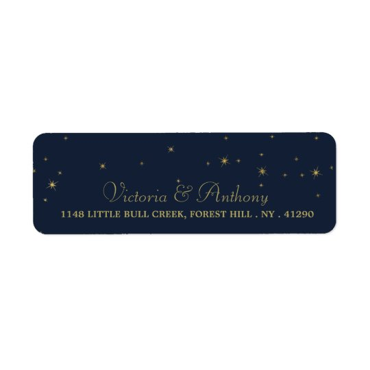 Elegante Wedding Marine-u. Goldfallende Sterne Rücksende Aufkleber