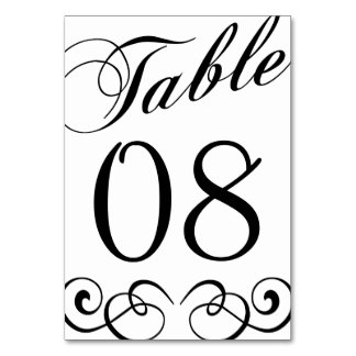 Elegante Wedding Schwarzweiss-Tischnummer