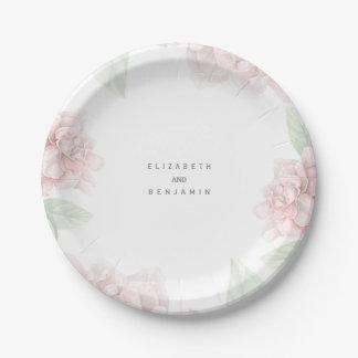 Elegante weiche rosa BlumenKranz-Garten-Hochzeit Pappteller