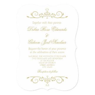 Elegante Weiß-und Goldmonogramm-Hochzeit 12,7 X 17,8 Cm Einladungskarte