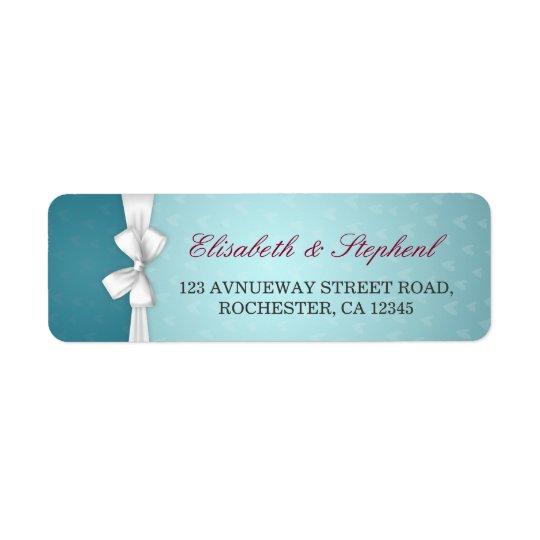 Elegante weiße Band-Türkis-Hochzeits-Adresse Kleiner Adressaufkleber