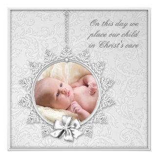 Elegante weiße Foto-Taufe Quadratische 13,3 Cm Einladungskarte