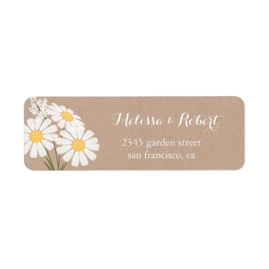 Elegante weiße Gänseblümchen-Blumenstrauß-mit Rücksendeetikett