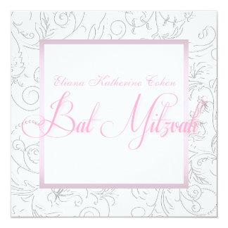 Elegante weiße rosa Schläger Mitzvah Einladungen
