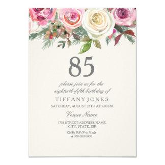 Elegante weiße Rosen-Blumen85. Geburtstag laden Karte