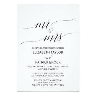 """Elegante weiße schwarze Kalligraphie """"Herr u. 12,7 X 17,8 Cm Einladungskarte"""