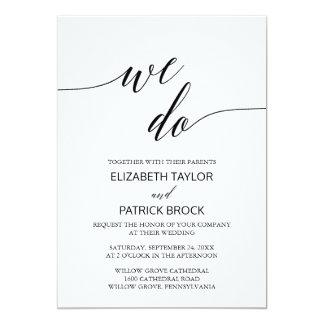 """Elegante weiße schwarze Kalligraphie """"wir tun"""" 12,7 X 17,8 Cm Einladungskarte"""