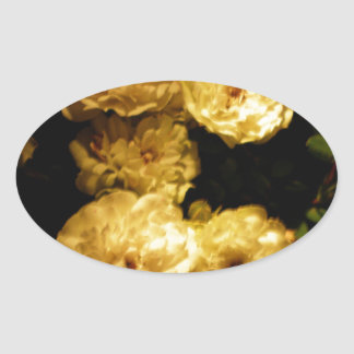 Elegante weiße Tee-Rosen Ovaler Aufkleber