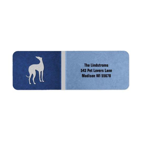 Elegante Windhund-Silhouette in der blauen Rücksendeetiketten