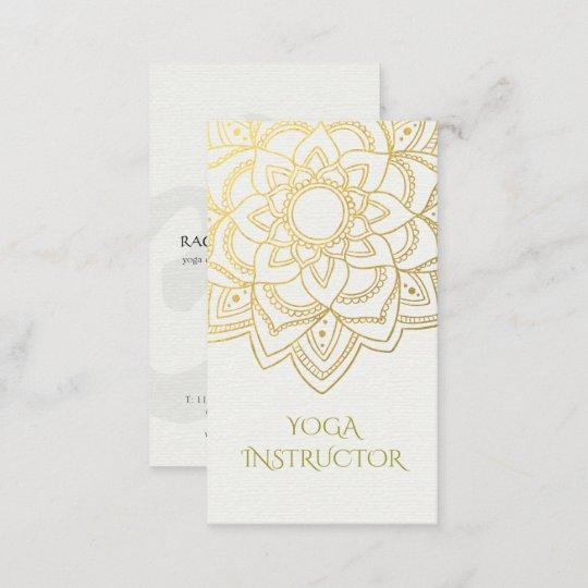 Elegante Yoga Lehrer Weißes Goldblumenmandala Visitenkarte
