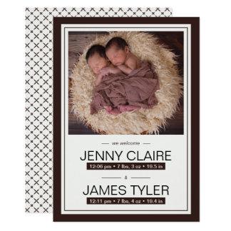 Elegante Zwillings-Baby-Geburts-Mitteilung 12,7 X 17,8 Cm Einladungskarte