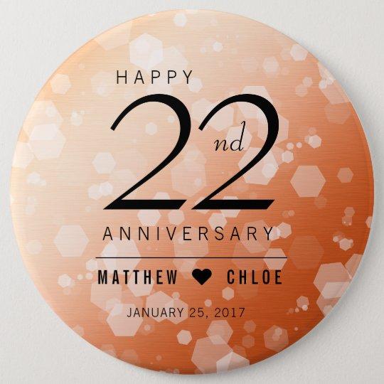 Eleganter 22. kupferner Hochzeitstag Runder Button 15,3 Cm