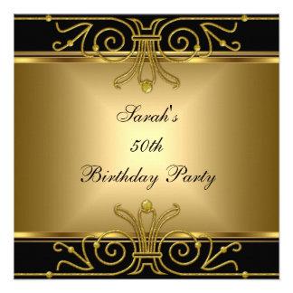 Eleganter 50 Geburtstags-Goldschwarze Kunst-Deko Einladungskarten