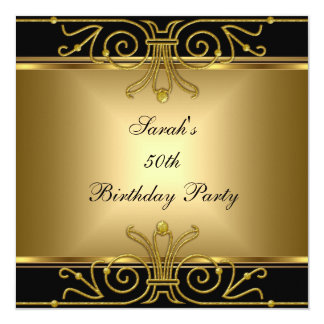Eleganter 50. Geburtstags-Goldschwarze Kunst-Deko Einladungskarten