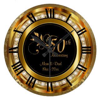 Eleganter 50. goldener Diamant-Jahrestag Große Wanduhr
