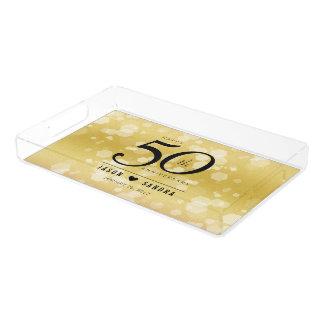Eleganter 50. goldener Hochzeitstag Acryl Tablett