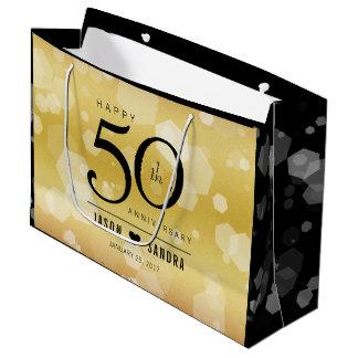 Eleganter 50. goldener Hochzeitstag Große Geschenktüte
