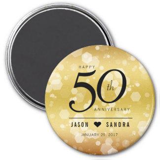 Eleganter 50. goldener Hochzeitstag Runder Magnet 7,6 Cm